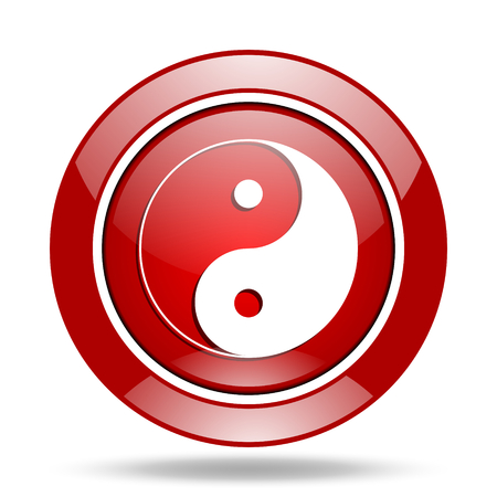 ying and yang: ying yang round glossy red web icon Stock Photo