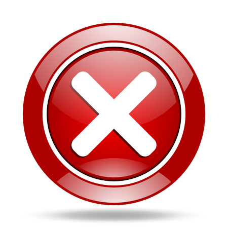 cancel round glossy red web icon Stock Photo