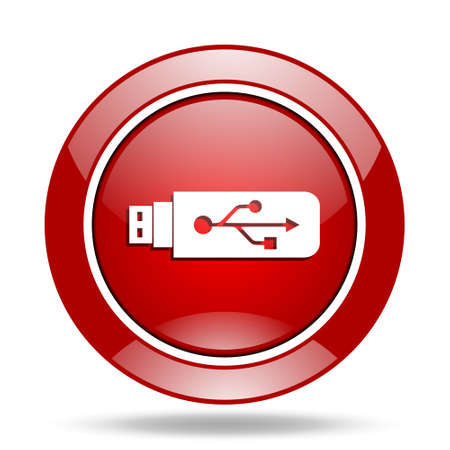 usb pendrive: usb round glossy red web icon Stock Photo
