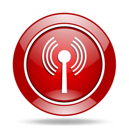 wifi round glossy red web icon Stock Photo