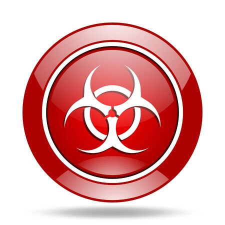 bacterioa: biohazard round glossy red web icon Stock Photo