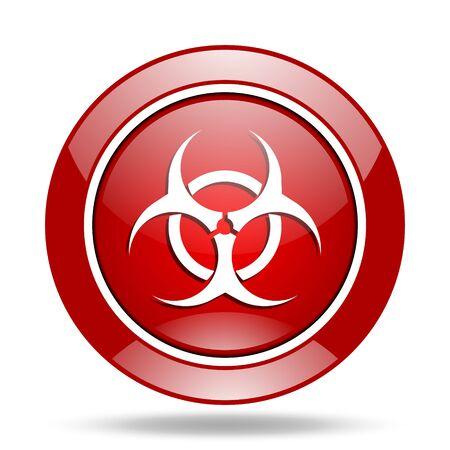 biological hazards: biohazard round glossy red web icon Stock Photo