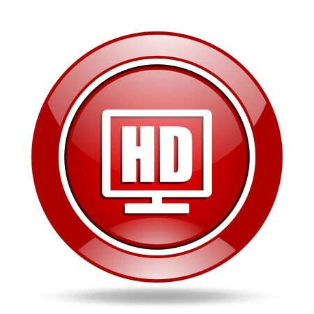 display: hd display round glossy red web icon Stock Photo