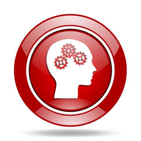 brainy: head round glossy red web icon Stock Photo