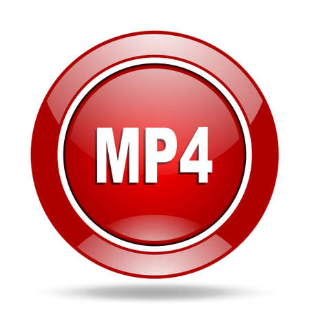 mp4: mp4 round glossy red web icon Stock Photo