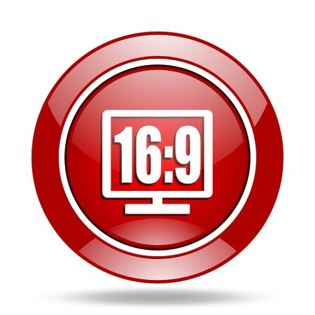 16 9: 16 9 display round glossy red web icon