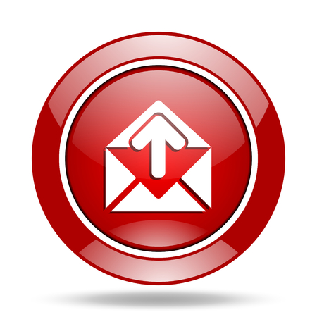email round glossy red web icon Stock Photo