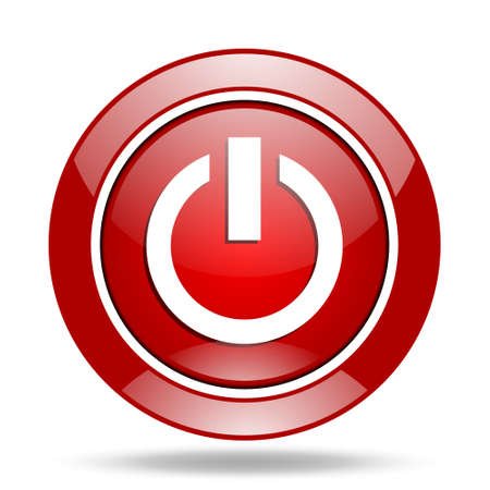 run off: power round glossy red web icon Stock Photo