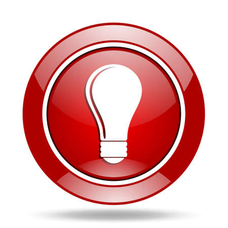lighting button: bulb round glossy red web icon
