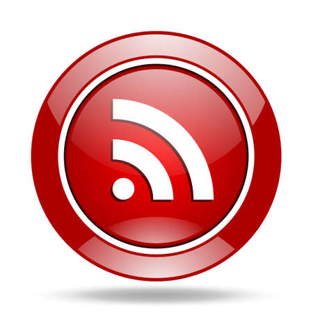rss round glossy red web icon