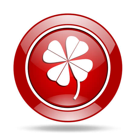 red clover: four-leaf clover round glossy red web icon Stock Photo