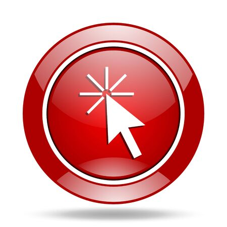 click here round glossy red web icon