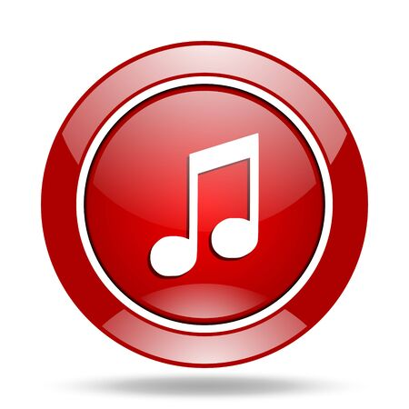 red sound: music round glossy red web icon