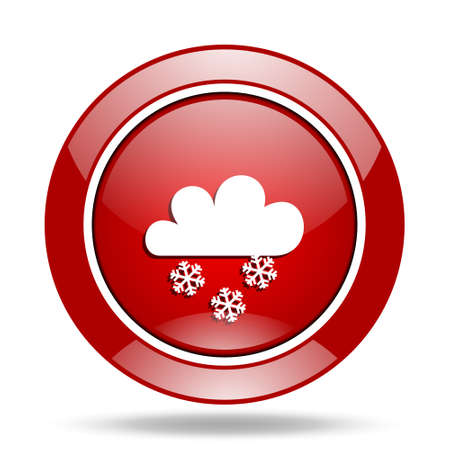 snowing round glossy red web icon