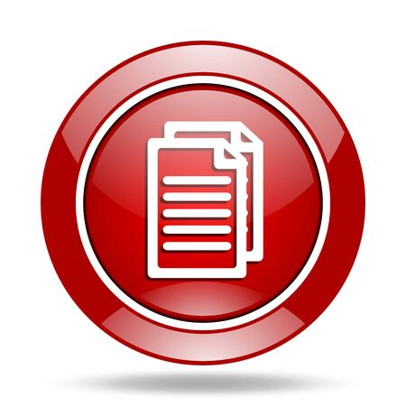 document round glossy red web icon