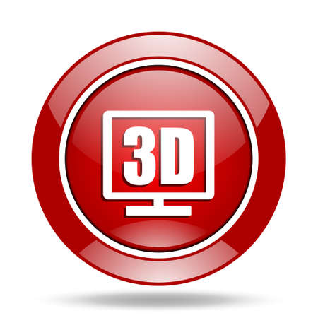 display: 3d display round glossy red web icon