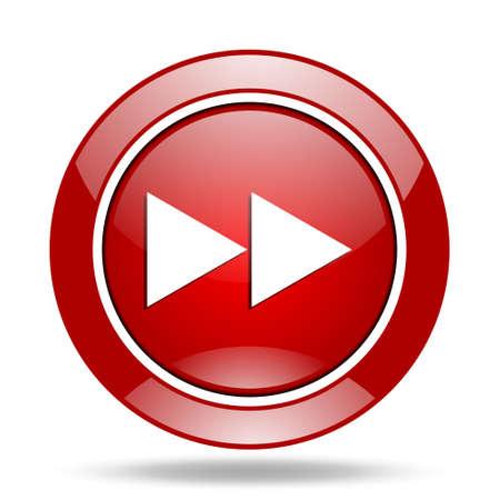 rewind: rewind round glossy red web icon