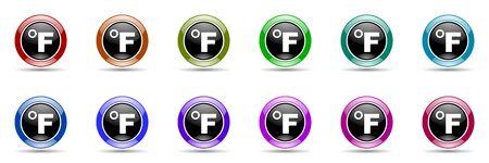 celcius: fahrenheit round glossy colorful web icon set