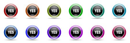 yea: yes round glossy colorful web icon set