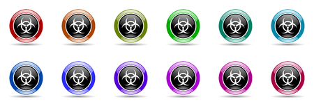 bacterioa: biohazard round glossy colorful web icon set Stock Photo