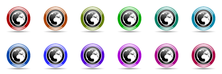 parallel world: earth round glossy colorful web icon set Stock Photo