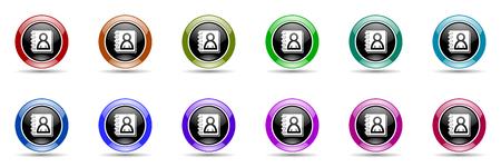 address book round glossy colorful web icon set