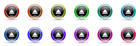 eject icon: eject round glossy colorful web icon set