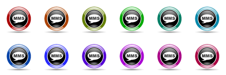 mms: mms round glossy colorful web icon set Stock Photo