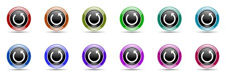 rotate: rotate round glossy colorful web icon set Stock Photo