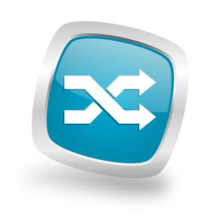 square button: aleatory square glossy chrome silver metallic web icon