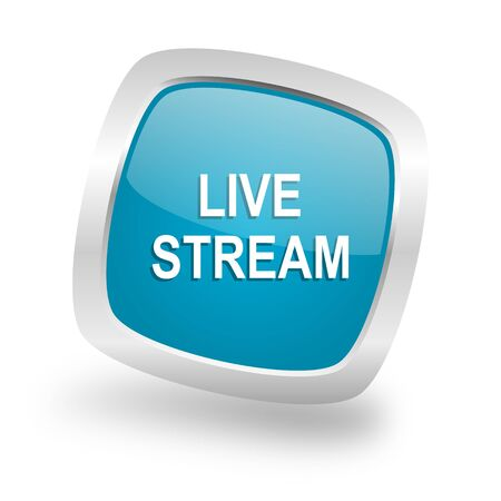 live stream: live stream square glossy chrome silver metallic web icon Stock Photo