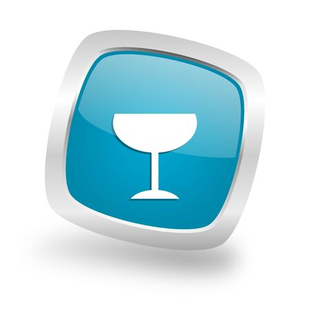 champain: alcohol  square glossy chrome silver metallic web icon