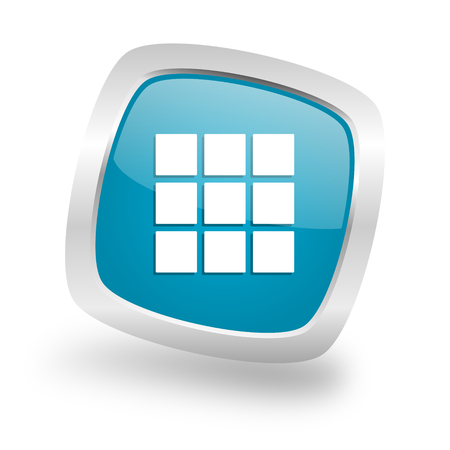 thumbnails: thumbnails grid square glossy chrome silver metallic web icon