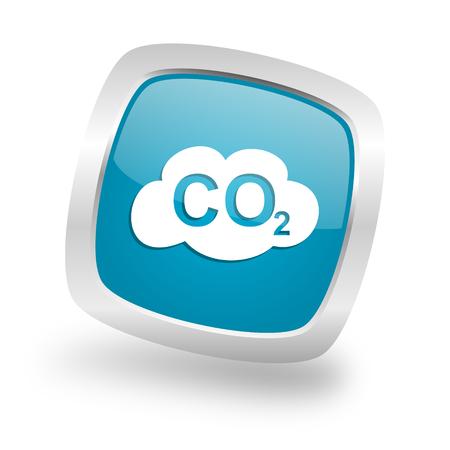 dioxido de carbono: el dióxido de carbono cuadrados brillante de cromo de plata metálica del icono del Web Foto de archivo