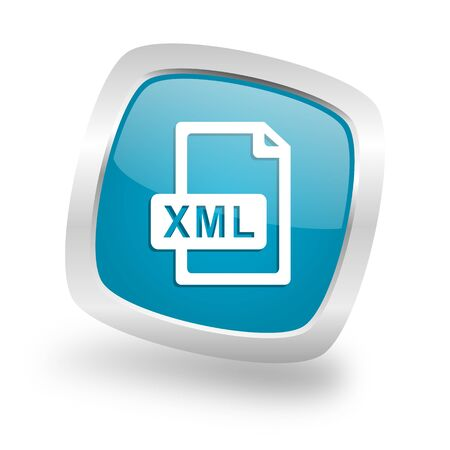xml: xml file square glossy chrome silver metallic web icon