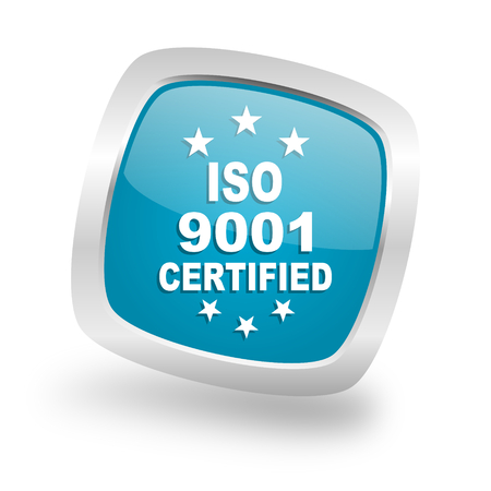 standard steel: iso 9001 square glossy chrome silver metallic web icon