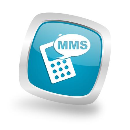 mms: mms square glossy chrome silver metallic web icon