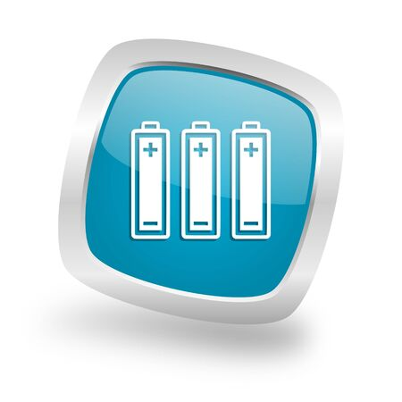 accuse: battery square glossy chrome silver metallic web icon