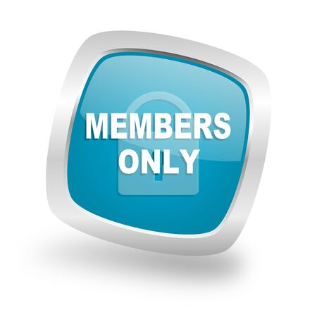 members only: members only square glossy chrome silver metallic web icon