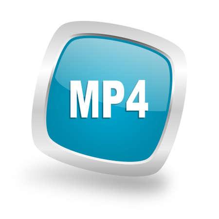 mp4: mp4 square glossy chrome silver metallic web icon