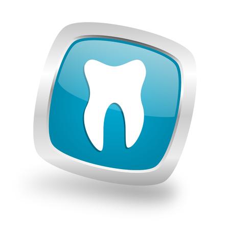 tooth square glossy chrome silver metallic web icon