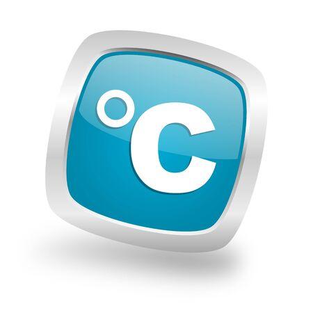 celcius: celsius square glossy chrome silver metallic web icon Stock Photo