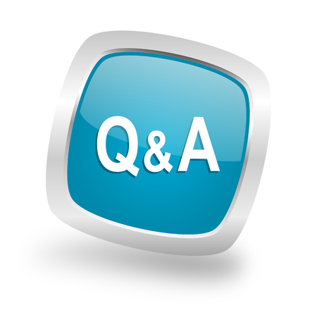 question and answer: question answer square glossy chrome silver metallic web icon Stock Photo