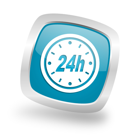 24h: 24h square glossy chrome silver metallic web icon Stock Photo