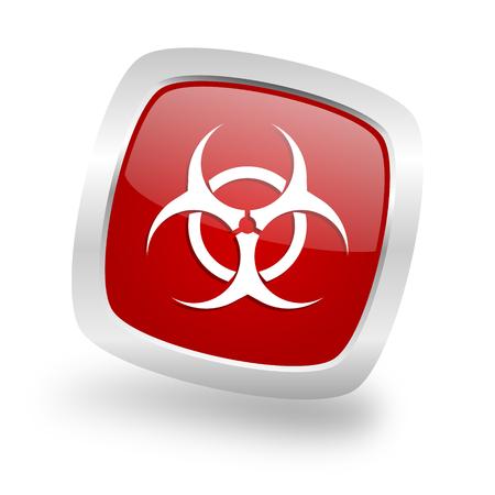 riesgo biologico: biohazard square glossy red chrome silver metallic web icon Foto de archivo