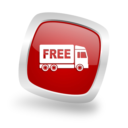 d�livrance: free delivery square glossy red chrome silver metallic web icon Banque d'images