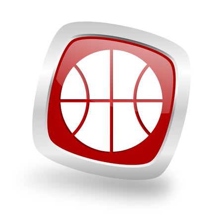 chrome ball: ball square glossy red chrome silver metallic web icon
