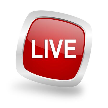 livestream: live square glossy red chrome silver metallic web icon Stock Photo