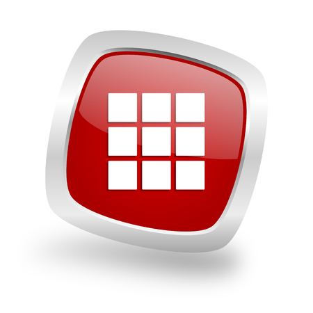 thumbnails grid square glossy red chrome silver metallic web icon Stock Photo