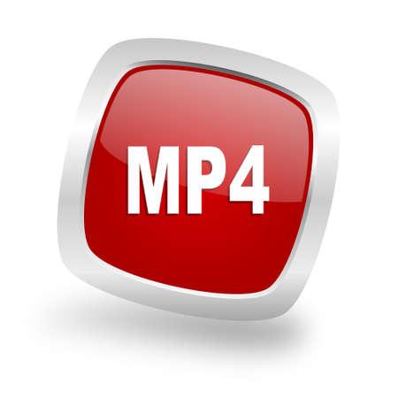 mp4: mp4 square glossy red chrome silver metallic web icon